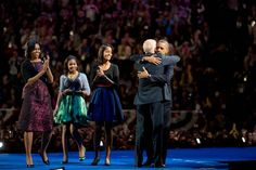 President Obama embraces Vice-President, Joe Bidden.
