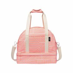 Kate Spade Saturday Small Weekender Bag Signature Zig Zag Neon Coral NWT $180
