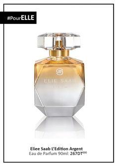 Pour ELLE - Elie Saab Edition Argent Collector Pour sublimer encore un peu plus la magie de Noël, Elie Saab habille le flacon de son parfum d'un dégradé d'or subtil pour une préciosité raffinée. Cette édition limitée renferme toujours le jus aux notes sucrées et entêtantes de fleur d'oranger, de jasmin, de patchouli et de miel de rose.  #Fatales #ElieSaab #EditionArgent #Collector