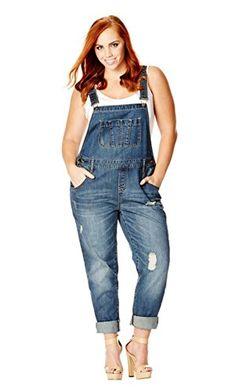 4215574046c City Chic Women's Apparel Women's Plus Size Jean Over-IT-All, Light Denim,  18. Denim OverallsSchool ...