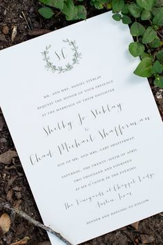 Simple White Card Stock Stationery with Laurel Wreath