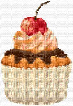 Cherry Cupcake Cross Stitch Pattern PDF Download. $6.00, via Etsy.