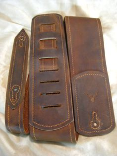 Custom Brown Leather Guitar Strap/ Gold by TrickedOutLeather