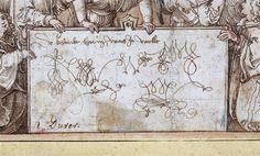 Albrecht Dürer - La Messe des anges (détail), vers 1500