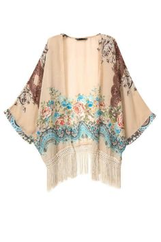 Women floral tassel chiffon Kimono outwear loose vintage cape coat Femininas European casual cardigan brand tops