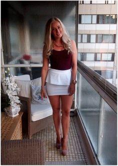 White peplum skirt & Steve Madden heels