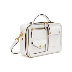 Shop the Cherwell Square in White Shiny Lamb Leather at Mulberry.com. The Cherwell draws on the collection's theme of utility with its rectangular box shape and array of pockets overlaying the bag's surface. Finished with a zip fastening, it opens up to a velvety suede interior, equipped with a slip pocket. Get inspired by the catwalk styling, and add the Cherwell Pouch as a clip-on, which can either be tucked in or left dangling.