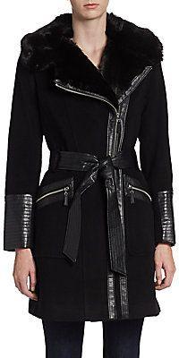 Faux Fur Collar Coat via Saks Off Fifth