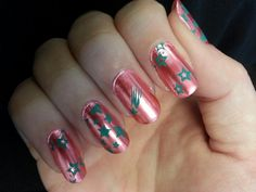 Angel's Nails ~ peach with aqua nail stamp