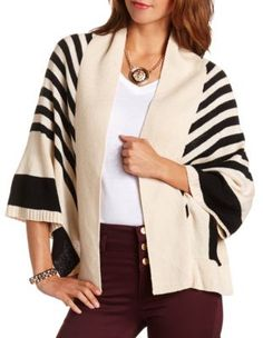 Charlotte Russe striped open-front poncho Size XL $26.50