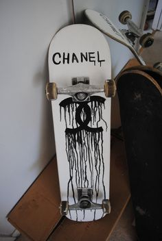 If Chanel isn't gonna design us a skateboard, guess we'll just make our own… - Style + Substance Skate Shape, Skate Decks, Skate Surf, Skateboard Deck Art, Skateboard Design, Skateboard Clothing, Longboard Design, Cool Skateboards, Complete Skateboards