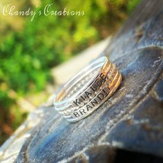 Hey, I found this really awesome Etsy listing at https://www.etsy.com/listing/258331467/sterling-silver-stackable-name-rings