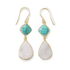 14K Gold Plated Sterling Silver Earrings with Turquoise and White Druz – Sparkle & Jade