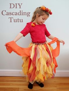 DIY Layered cascading tutu.  Tutorial for an autumn themed layered skirt made from lots of overlapping layers of fabric.