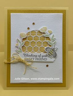 Honey Bee Trio - Cards - Honey Bee Trio Greeting card, gift box & lip balm holder using the Honey Bee Bundle, Up, Gala, Bee Bundle Bee Cards, Pokemon, Scrapbooking, Friendship Cards, Stamping Up Cards, Bee Happy, Greeting Cards Handmade, Homemade Cards, Homemade Greeting Cards