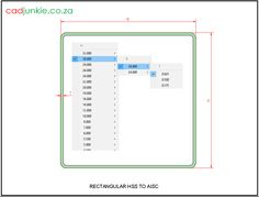 Steel Sections: USA: AISC Rectangular HSS CAD Format: AutoCAD 2013  Block Type: 2D Dynamic (1x381 Lookup Tables)  Units: Inches  Description:  A dynamic block made using the AISC Tables.  The block is parametric and uses lookup tables to produce 381 different blocks. The block can be edited to user dimensions with the standard AutoCAD Properties editor Steel Properties, Cad Blocks, Autocad, Editor, 2d, Bar Chart, Tables, The Unit, Type