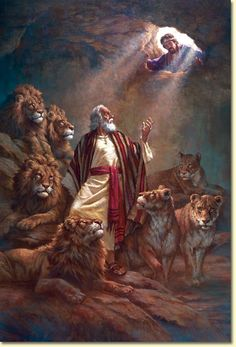 "Daniel in the Lion's Den by Gauthier~The king gave..order for Daniel's arrest..he was taken to the den of lions..king said..""May..God..deliver you""..threw him in. A stone was..placed over the..den..king sealed it..no one could rescue Daniel..Next morning..hurried..to the lions' den..""Daniel..was..God..able to deliver you?""..""Your Majesty, live forever!..My God..sent his angel..I am innocent.."" The king..ordered Daniel lifted..not a scratch was..on him because he believed in..God. Dan…"