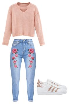 """Spring outfit"" by madisenharris on Polyvore featuring WithChic and adidas Originals"