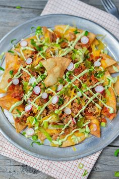 Apples and Sparkle: BBQ Pulled-Pork Nachos with Quick Fire-Roasted Tomato Salsa & Avocado Lime-Crema