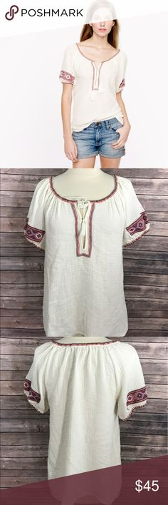 J Crew Top Size XS White Embroidered Gauze Tunic J Crew Womens Top Size XS White Embroidered Gauze Tunic Boho Peasant. Measurements: (in inches) Underarm to underarm: 18.5 Length: 25  Good, gently used condition J. Crew Tops Blouses