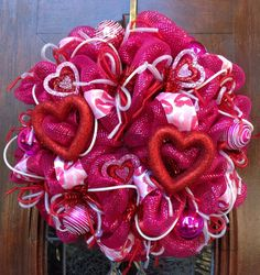 Hey, I found this really awesome Etsy listing at https://www.etsy.com/listing/175784966/fuscia-deco-mesh-valentines-wreath