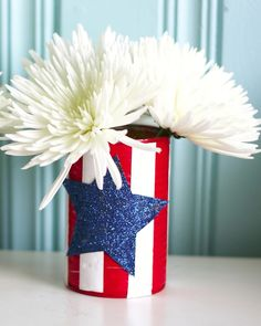 the pretty bee: cooking + creating: DIY: Easy Upcycled Patriotic Vase.