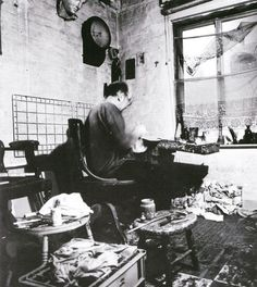 Euan Uglow working in his studio