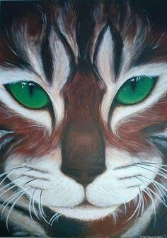 Emerald Eyes Acryl op canvas 70 x 50 cm Sarah Creek