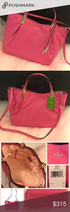 Kate Spade♠️ pink crossbody hand bag leather Adorable NWT caberet pink Kate spade hand bag with an attachable shoulder strap.  Small lucianna Essex court.  Features cute Kate spade line on the interior with a Magnetic closure, one zip pocket and two slip pockets.  Soft cow leather with a luxurious worn in look.  Metal feet have minor scratching and please see last set of pics for some very minor imperfections (minor scratching and tiny marks) all very hard to notice.  Such a fabulous bag…