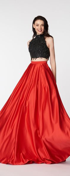 Two piece prom dresses red black prom dress sequins sparkly prom gowns pageant backless prom dress