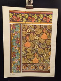 Gourd Art Nouveau book print Floral Print by Upcycledgraphics