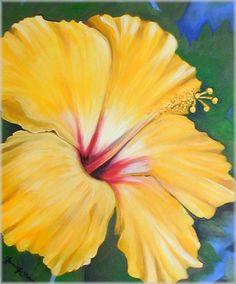 Image Detail for - Janis Stevens Flower Paintings in Oil- Yellow Hibiscus Flower