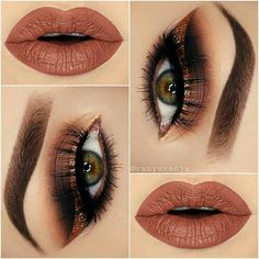 Brown eye makeup ideas and nude lips