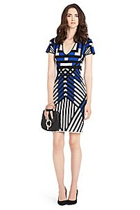 Lorraine Printed Knit Bodycon Dress in Black/ Ivory/ Blue Iris by DVF