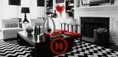 Mary McDonald - So feeling this room. Black and white with a splash of color!