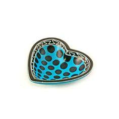 Blue Cheetah Spot Heart Dish (Kenya)
