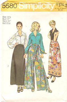 1970s Wide Leg Pants Pattern Skirt Blouse Pattern Bust 37 Size 14 15 Simplicity 5580 Vintage Sewing Pattern