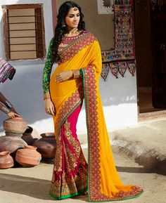 https://www.a1designerwear.com/charming-yellow-and-pink-georgette-saree