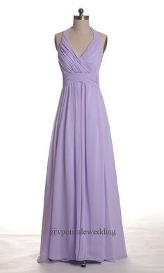 Long Halter Lavender Bridesmaid Dress DVW0030   VPonsale Wedding