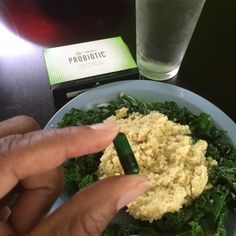 Enjoying a #healthylunch of cous cous on a bed of sautéed kale along with my #probiotic. -------------------------------------------- Did you know? 80 percent of your entire immune system is located in your digestive tract! Some benefits of probiotics include:  replenish the good bacteria in your small and large intestines  boosting immune system  prevent and treat urinary tract infections  improve digestive function  heal inflammatory bowel conditions like IBS4  manage and prevent eczema in…