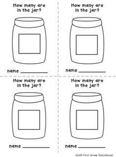 Estimation Jar Printables by First Grade Schoolhouse. 2 different-sized estimation  recording sheets and a poster. FREE!!! Download.