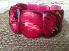 Hot pink chunky bracelet Wide cuff bangle Tagua by GalapagosTagua