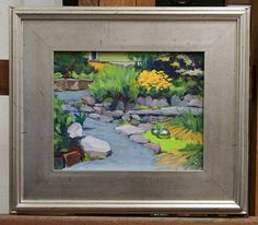 """Duckweed Pond"" 8"" x 10"" oil on board, framed."