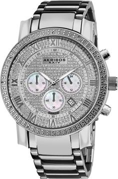 Men's Wrist Watches - Akribos XXIV Mens AK439SS Grandiose Diamond Chronograph Watch *** Read more reviews of the product by visiting the link on the image.