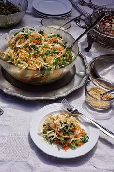 Ralu TeRa: Cabbage, kale and carrot salad with sweet tahini dressing