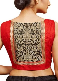 Red Raw Silk Designer Blouse - A simplified form of our logo or crest could be used here Simple Blouse Designs, Saree Blouse Neck Designs, Stylish Blouse Design, Kurti Neck Designs, Saree Blouse Patterns, Designer Blouse Patterns, Skirt Patterns, Coat Patterns, Sewing Patterns