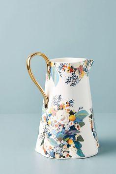 Botanica Pitcher by Anthropologie in Gold, Serveware Vintage China, Diy Vintage, Vintage Teacups, Serveware, Tableware, Kitchenware, Tea Station, Sushi Set, Mugs