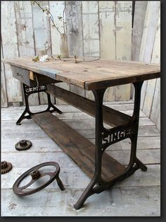Love this table from Quirky Interiors- a unique blend of quirky interiors and vintage industrial furniture. #VintageIndustrialFurniture #vintagerusticfurniture