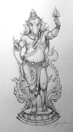 Shiva Art, Ganesha Art, Krishna Art, Ganesha Tattoo Lotus, Lotus Tattoo, Lord Ganesha Paintings, India Art, Thai Art, Indian Art Paintings