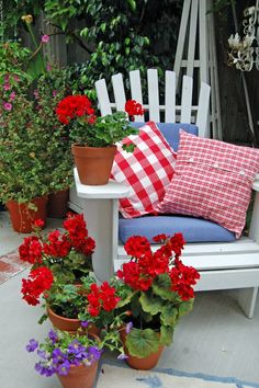 red checked fabric, red geraniums and a white Adirondack chair. My mom loved geraniums! White Adirondack Chairs, Red Geraniums, Potted Geraniums, Patriotic Decorations, Outdoor Decorations, Red White Blue, Red Purple, Porch Decorating, Fourth Of July